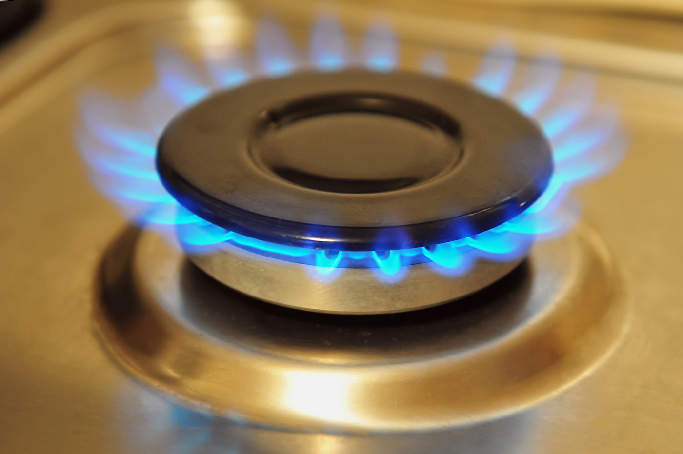 A natural gas stove outlet in a residential home